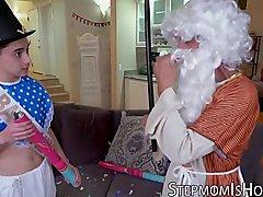 Festive MILF Krissy Lynn fucking Santa and stepson big cock