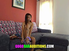 skinny thai girl auditions to be gogo dancer
