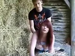 Country boy fucks her aunt outdoor on his farm house