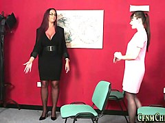 cfnm babe taught to jerk