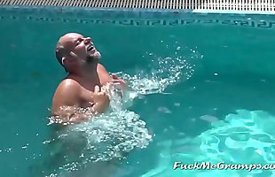 Grandpa gets filmed naked while swimming