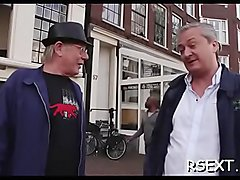 Horny old stud takes a tour in amsterdam'_s redlight district