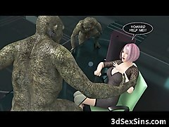 3d busty babe gangbanged by ogres!