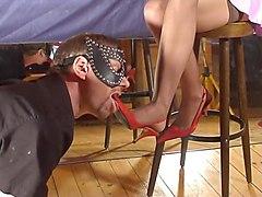 femdom footjob shoejob witj high heels and stockings