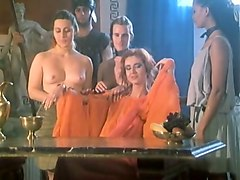 awesome lesbian orgy on the table with hot white sluts