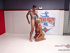 Will Havoc owns London River in a winner-fucks-loser naked wrestling match and slaps her face while deepthroating her to prove it