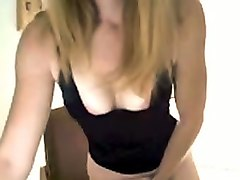 stunning blonde friend fondling her pussy sensually in amateur video