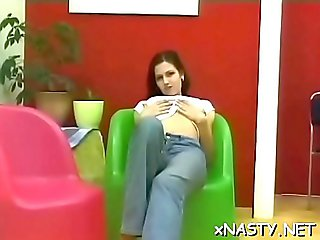 Charming brunette Kendra with firm natural tits is rubs her clit