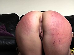 spanked cocksucking sub gets mouthfull of cum