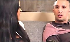 Horny housewife makes love with worker and her man