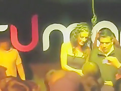 Lucky man sucks the tits of a babe at the bar