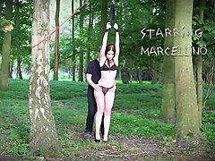 redhead dragged in woods punished with wax and big toy