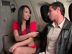 sex with brunette slut in airplane
