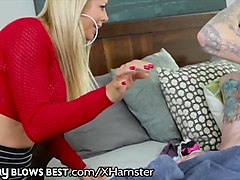 big dick geeky panty sniffing perv gets blowjob from alexis