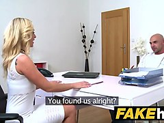 female agent bodybuilder shoots his load all over slim agent