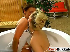 european babes getting golden shower and sucking