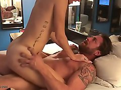 Amateur brunette busty MILF wife riding on cock in homevideo