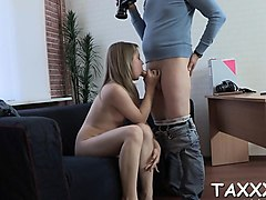 agent wants the pretty teen engulf his weenie at a casting