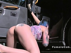 lesbian female fake taxi drivers had oral