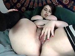 hailyhaze masturbating on cam her hairy pussy