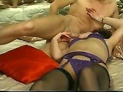 voracious brunette sweetheart in black stockings loves oral sex