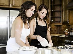 hot college lesbians making pizza