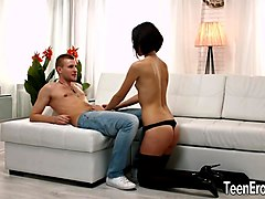small tit cutie liona bee sucks cock and is sodomized