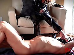 Foot Gagging Institute - Super Young Dominatrix In A Hot Black Cat Suit Puts A Wicked Clamp In Her Slave'_s Mouth and Forces Her Foot Down His Throat!