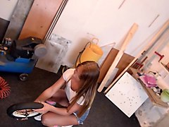 sexy teen in knee high socks rides cock in a repair shop.mp4