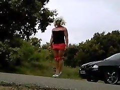 slut crossdresser outside