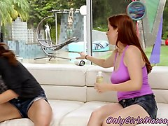 Redhead masseuse muffdiving her client