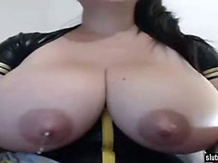 this latina milf with huge lactating tits must like to show off her boobs