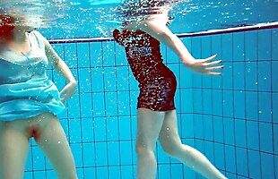 Dashka and Vesta underwater teens