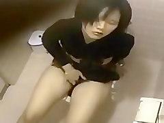 Japanese amateur caught masturbating on the toilet