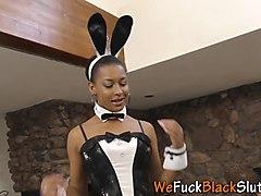 Ebony babe face bukkaked