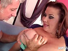 an older guy fucks bbw lady lynn in her mouth and fat pussy