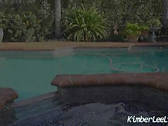 sexy teen kimber lee tells you how to jerk it by the pool!