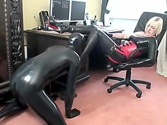 Trampling & Ball Kicking Latex Fem Dom Lets Her Slave To Cum On Boots