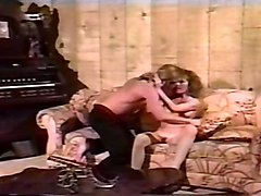 vintage redhead white lean milf on the couch plays with her flabby pussy