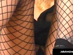 mega milf julia ann strips & bangs her pussy until she cums!