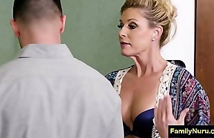 Highschool milf teacher doing erotic massage to student