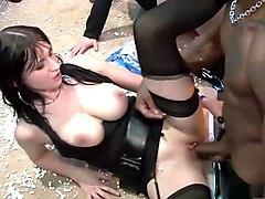 Fabulous pornstars Nessa Devil, Kia Winston and Naomi Lambo in hottest lingerie, interracial xxx movie