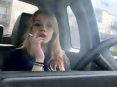 woman smokin' in car 3