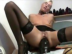 pierced granny milf loves huge black dildo anal