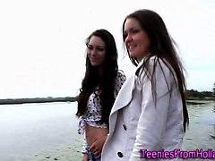teen, brunette, dutch, outdoors, toy