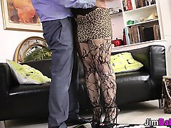 stockings euro jizz mouth