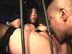 bodacious oriental mistress has a caged guy devouring her j