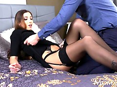 mom seductive french milf in sexy stockings and suspenders