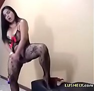 horny latina shows her creamy pussy with lovense vibrator