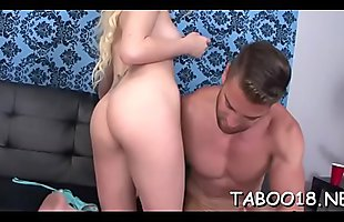 Glamorous teen with appetite for dick giving sensual tugjob